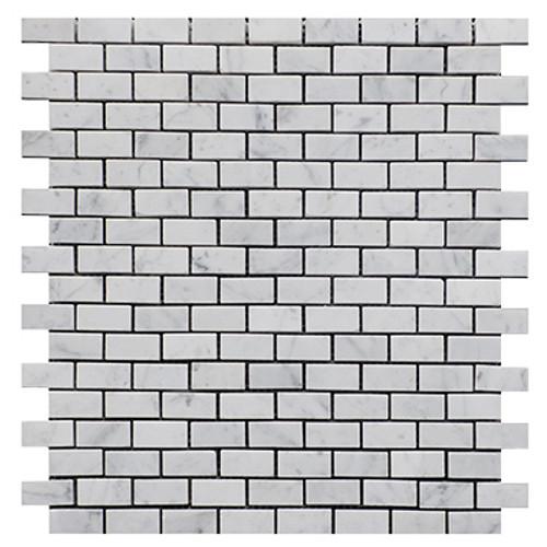 Italian White Carrera Marble Bianco Carrara Mini Brick Mosaic Tile Polished