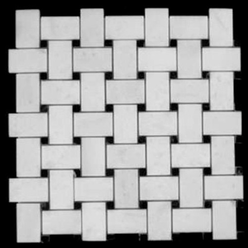 Statuary Crystal Marble Italian White Statuario Basketweave Mosaic Tile with Nero Marquina Black Dots Polished