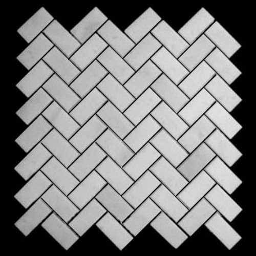 Statuary Crystal Marble Italian White Statuario Herringbone Mosaic Tile Polished