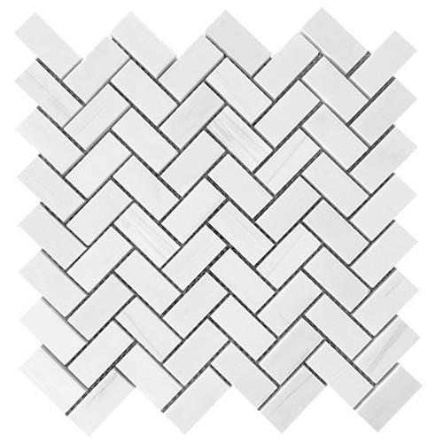 Dolomiti White Marble Italian Bianco Dolomite Herringbone Mosaic Tile Polished
