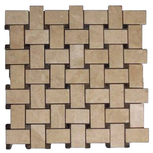 Crema Marfil Marble Basketweave Mosaic Tile with Dark Emperador Dots Polished