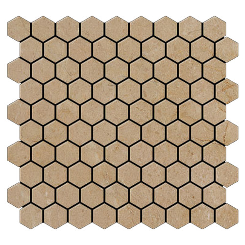 "Crema Marfil Marble 1"" Hexagon Mosaic Tile Polished"