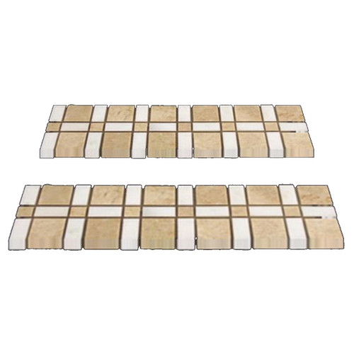 Crema Marfil Marble Border Tile with White Thassos Polished