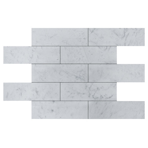 Italian White Carrera Marble Bianco Carrara 4x12 Marble Tile Honed