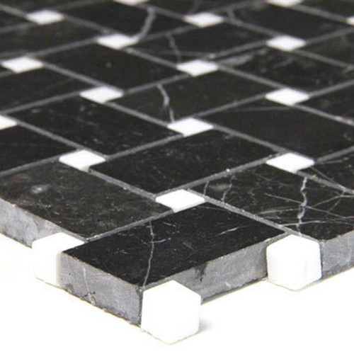 Nero Marquina Black Marble Basketweave Mosaic Tile with White Dots Polished