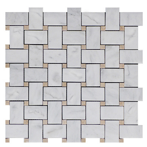 Italian White Carrera Marble Bianco Carrara Basketweave Mosaic Tile with Crema Marfil Dots Polished
