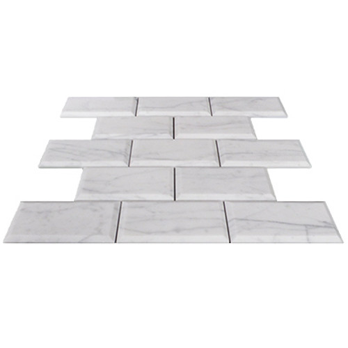 Italian White Carrera Marble Bianco Carrara 3x6 Marble Subway Tile Beveled Honed