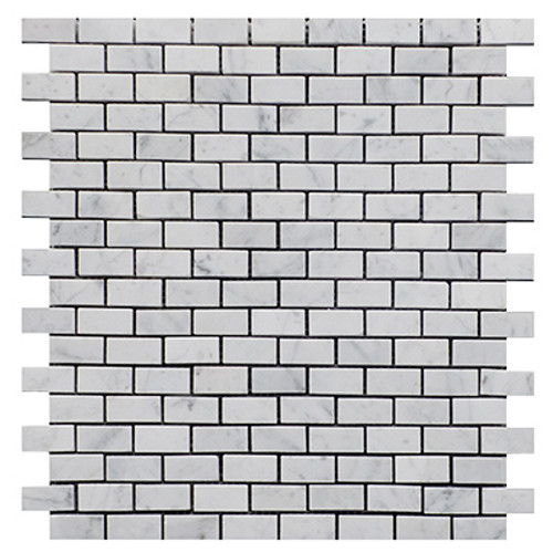 Italian White Carrera Marble Bianco Carrara Mini Brick Mosaic Tile Honed