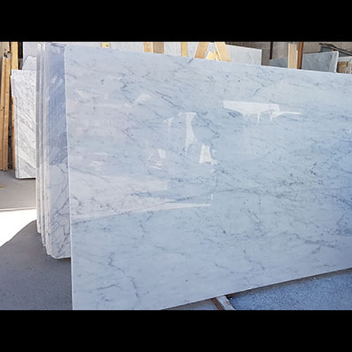 "Italian White Carrara Marble Bianco Carrera 1 1/4"" Thickness Marble Slab Honed"