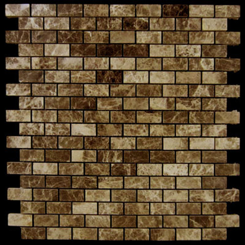 Dark Emperador Marble Mini Brick Mosaic Tile Polished