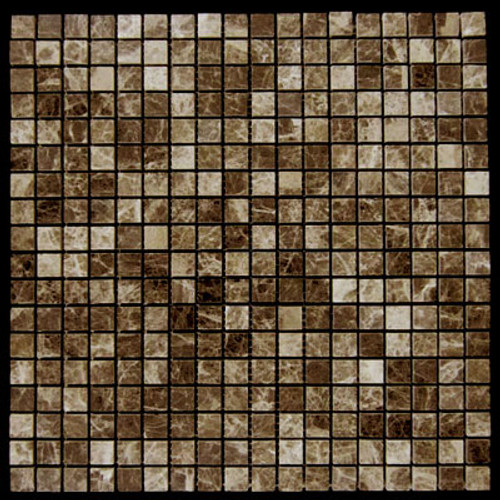 Dark Emperador Marble 5/8x5/8 Mosaic Tile Polished