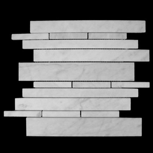 Italian White Carrera Marble Bianco Carrara Random Brick Random Strip Honed