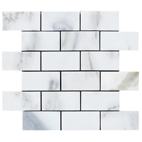 Calacatta Gold Italian Marble 2x4 Subway Mosaic Tile Honed