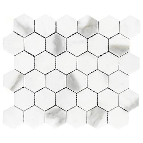 "Calacatta Gold Italian Marble 2"" Hexagon Mosaic Tile Honed"