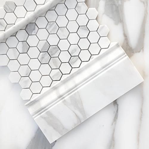 "Calacatta Gold Italian Marble 1"" Hexagon Mosaic Tile Honed"