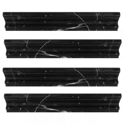 Nero Marquina Black Marble Crown Molding Polished