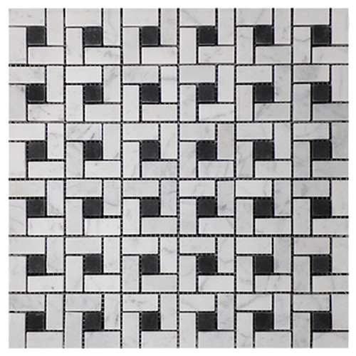Italian White Carrera Marble Bianco Carrara Target Pinwheel Pattern Marble Mosaic Tile with Nero Marquina Black Dots Honed