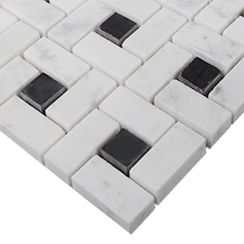 Carrara White ItalianMarble Target Pinwheel Mosaic Tile with Nero Marquina Black Dots Honed