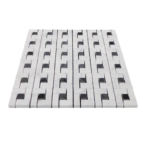 Italian White Carrera Marble Bianco Carrara Target Pinwheel Pattern Marble Mosaic Tile with Nero Marquina Black Dots Honed