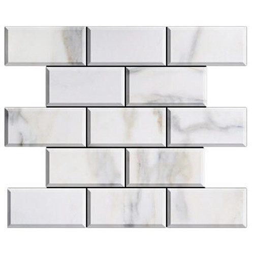 Calacatta Gold Italian Marble 3x6 Subway Tile Beveled Honed