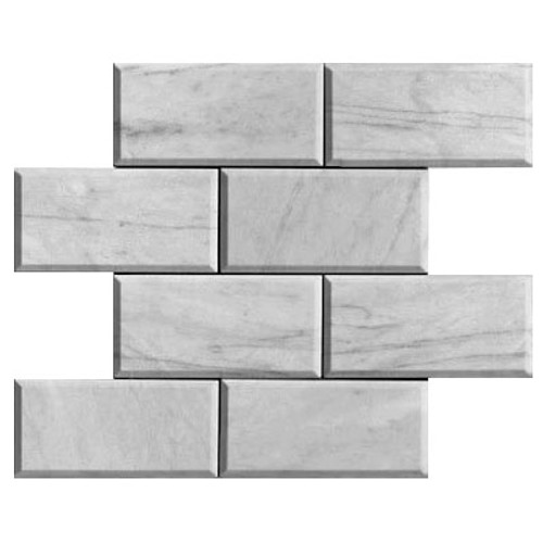 Italian White Carrera Marble Bianco Carrara 6x12 Marble Subway Tile Beveled Honed