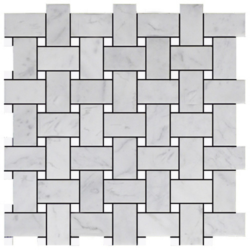 Italian White Carrera Marble Bianco Carrara Basketweave Mosaic Tile with White Dolomite Dots Polished