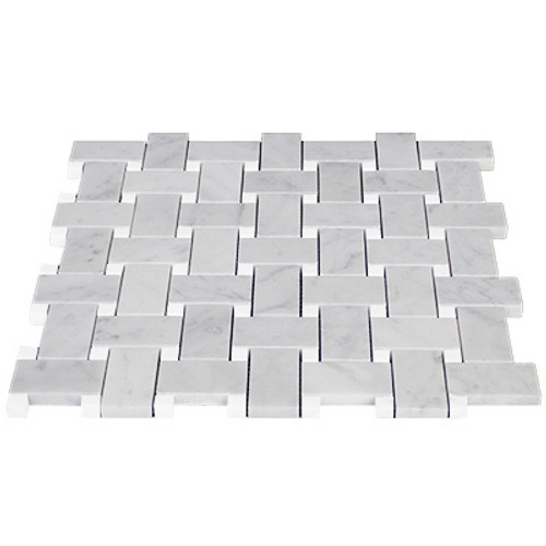 Italian White Carrera Marble Bianco Carrara Basketweave Mosaic Tile with White Dolomite Dots Polished