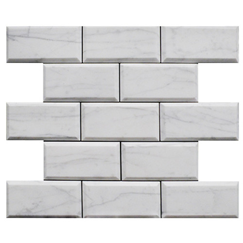 Italian White Carrera Marble Bianco Carrara 2x4 Wide Beveled Mosaic Tile Honed