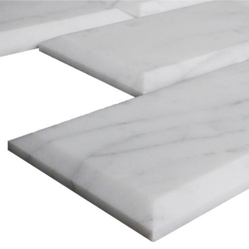 Italian White Carrera Marble Bianco Carrara 2x4 Wide Beveled Mosaic Tile Honed