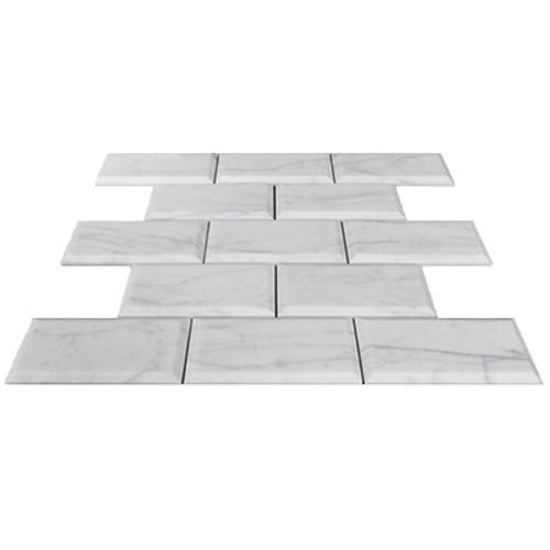 Italian White Carrera Marble Bianco Carrara 2x4 Wide Beveled Mosaic Tile Polished
