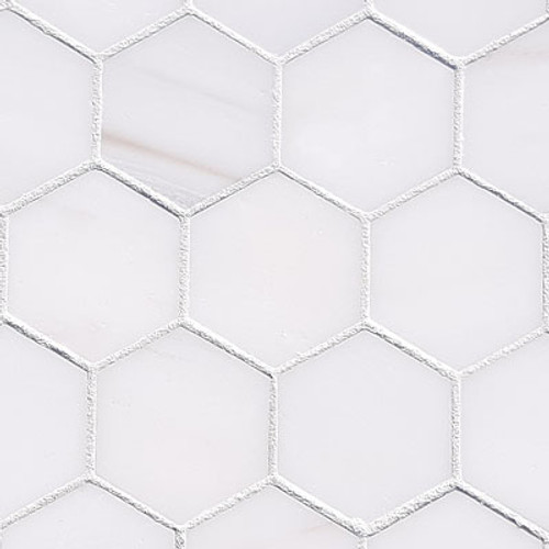 "Bianco Dolomite Marble 2"" Hexagon Mosaic Tile Polished"