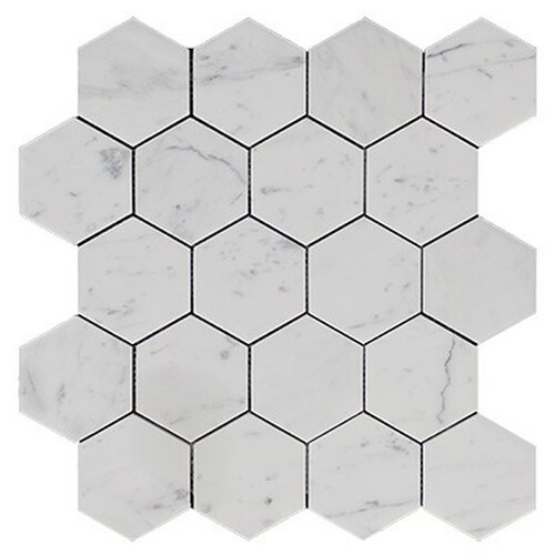 "Italian White Carrera Marble Bianco Carrara 3"" Hexagon Mosaic Tile Polished"
