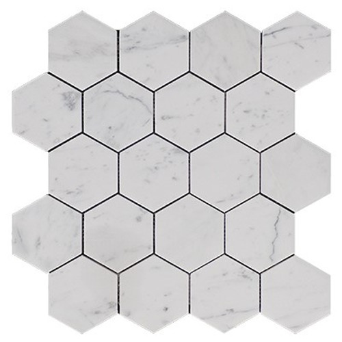 "Italian White Carrera Marble Bianco Carrara 3"" Hexagon Mosaic Tile Honed"