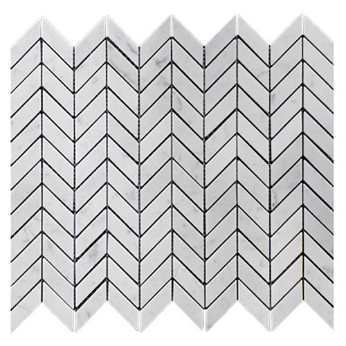 Carrara Marble Italian White Bianco Carrera Mini Chevron Mosaic Tile Honed