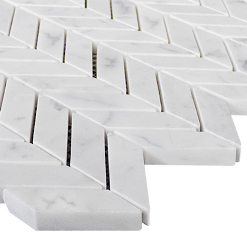 Carrara White Italian Marble Mini Chevron Mosaic Tile Polished