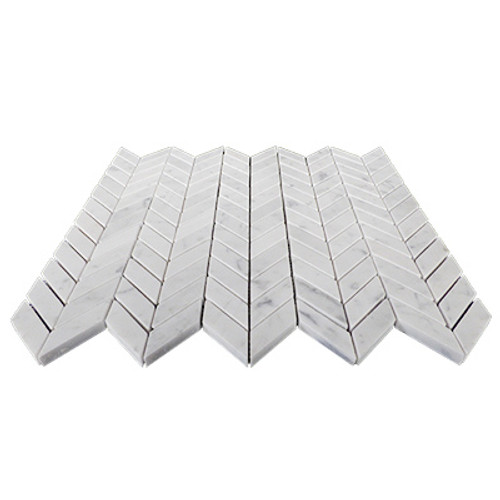 Carrara Marble Italian White Bianco Carrera Mini Chevron Mosaic Tile Polished