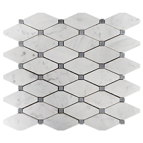Italian White Carrera Marble Bianco Carrara Rhomboid Long Octagon Mosaic Tile with Bardiglio Gray Dots Polished