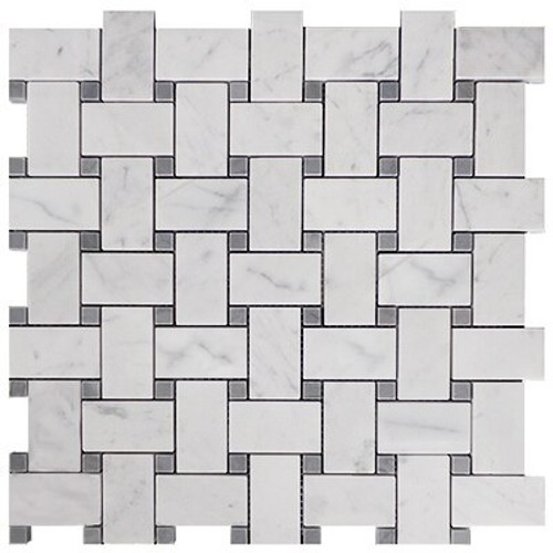 Italian White Carrera Marble Bianco Carrara Basketweave Mosaic Tile with Bardiglio Gray Dots Honed