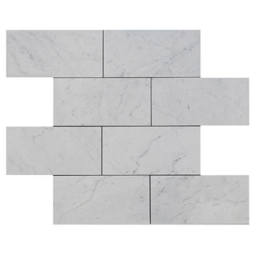 Carrara Marble Italian White Bianco Carrera 9x18 Marble Tile Polished