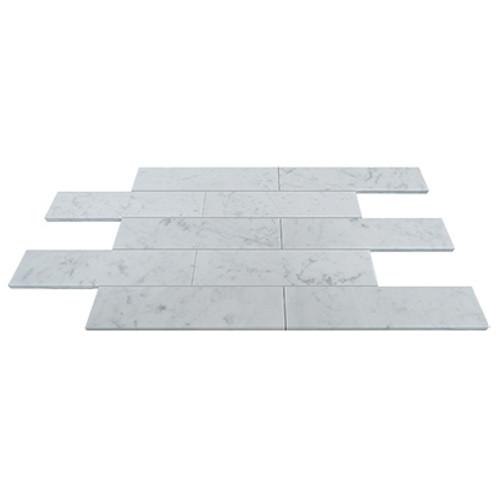Carrara Marble Italian White Bianco Carrera 3x12 Marble Tile Honed