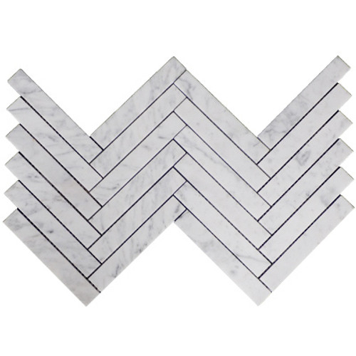 "Italian Carrara White Marble 1"" x 6"" Herringbone Mosaic Tile Polished"