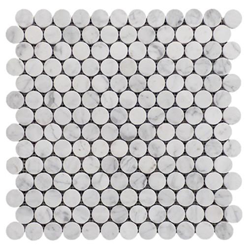 Italian Carrara White Marble Penny Round Mosaic Tile Honed