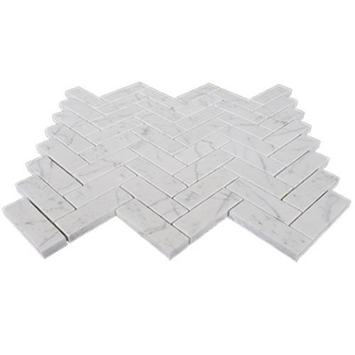 "Carrara White Italian Marble 1"" x 3"" Herringbone Mosaic Tile Honed"