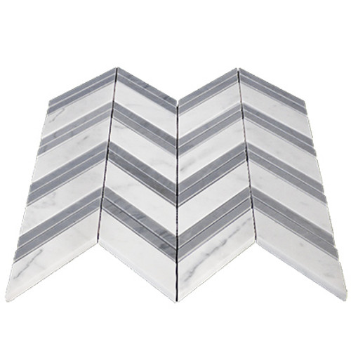 Bianco Carrara Chevron Mosaic Tile with Bardiglio Gray Strips Honed