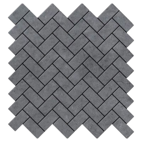Bardiglio Gray Marble Herringbone Mosaic Tile Honed