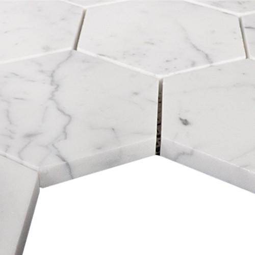 "Carrara Marble Italian White Bianco Carrera 4"" Hexagon Mosaic Tile Polished"