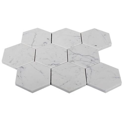 "4"" Carrara Marble Hexagon Mosaic Tile Polished"