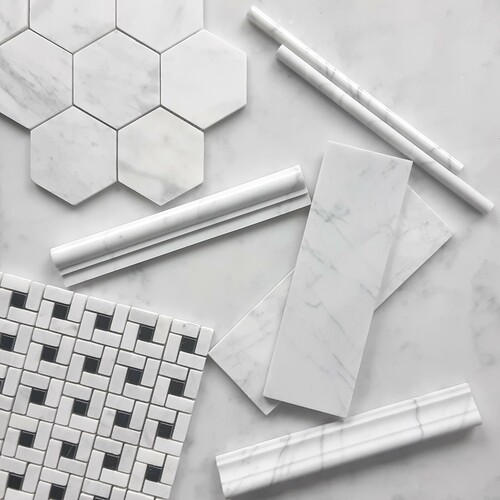 "Carrara Marble Italian White Bianco Carrera 4"" Hexagon Mosaic Tile Polished"