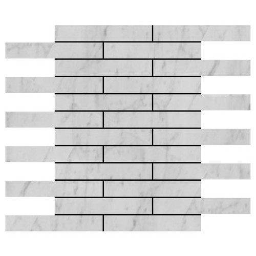 Carrara Marble Italian White Bianco Carrera 2x12 Marble Tile Polished