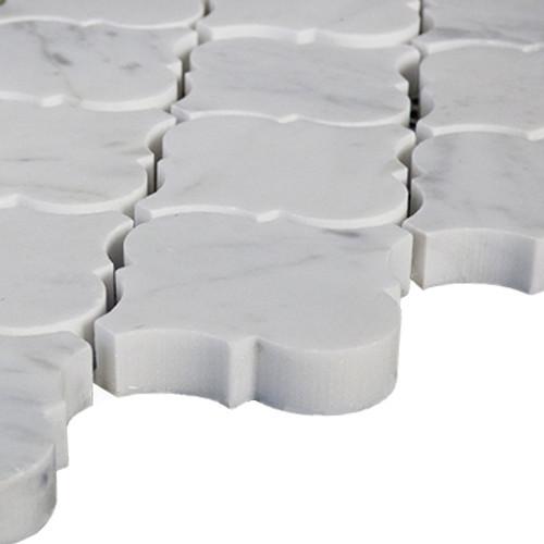 Italian Carrara White Marble Arabesque Baroque Lantern Mosaic Tile Polished